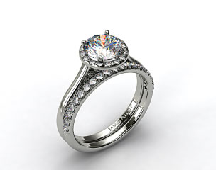 18K White Gold Pave Halo Engagement Ring & Pave Diamond Wedding Ring