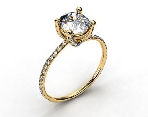 18k Yellow Gold Twist Pave ZE102 by Danhov Designer Engagement Ring