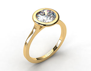 18k Yellow Gold Bezel Solitaire Engagement Ring (Round Center)