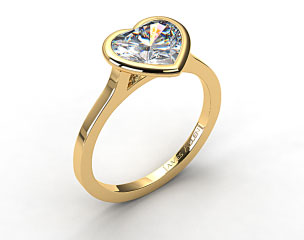 18k Yellow Gold Bezel Solitaire Engagement Ring (Heart Center)