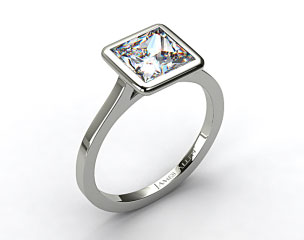 18k White Gold Bezel Solitaire Engagement Ring (Princess Center)