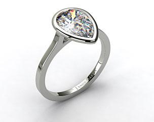 14k White Gold Bezel Solitaire Engagement Ring (Pear Center)