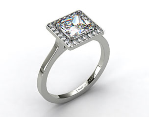 18k White Gold Pave Halo Engagement Ring (Princess Center)