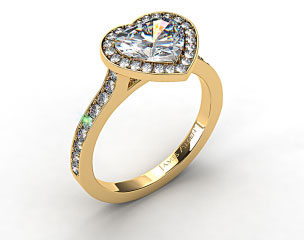 18k Yellow Gold Pave Halo & Shoulders Engagement Ring (Heart Center)