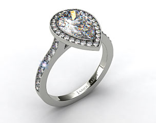 Platinum Pave Halo & Shoulders Engagement Ring (Pear Center)