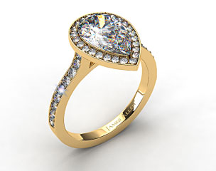 18k Yellow Gold Pave Halo & Shoulders Engagement Ring (Pear Center)