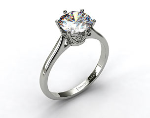 14k White Gold Spring Blossom Six Prong Solitaire Engagement Ring
