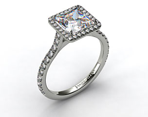 14k White Gold Pave Set Engagement Ring (Princess Center)