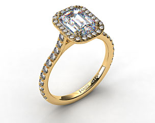 18k Yellow Gold Pave Set Engagement Ring (Emerald Center)