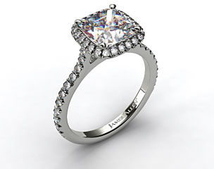18k White Gold Pave Set Engagement Ring (Cushion Center)