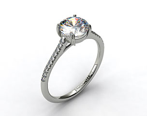 14k White Gold Pave Cathedral Claw Prong Engagement Ring