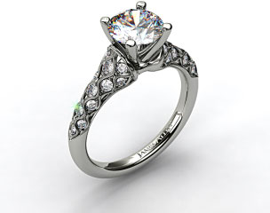 14k White Gold Wide Shoulder Engagement Ring
