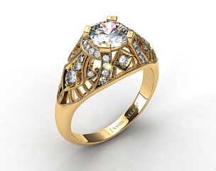 18k Yellow Gold Fleur de lis Diamond Engagement Ring
