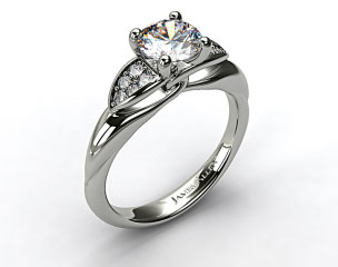 14K White Gold Twisted Love Knot Engagement Ring