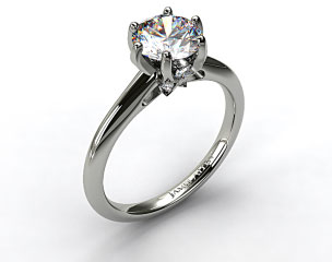 18K White Gold Diamond Accented Prong Engagement Ring