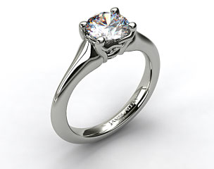 14K White Gold Twisted Love Knot Solitaire Engagement Ring