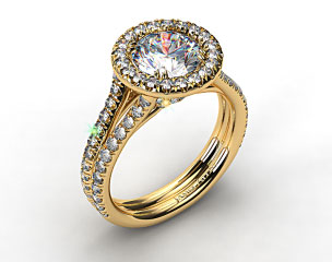 18K Yellow Gold Pave Halo Engagment Ring with Two Diamond Encrusted Bands