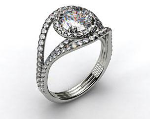 18K White Gold Pave Halo Engagement Ring with a Pave Split Band Design
