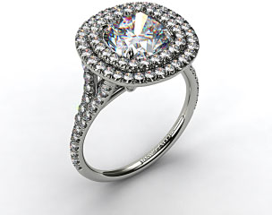 18K White Gold Pave Double Halo Engagement Ring with Pave Split Shank Design