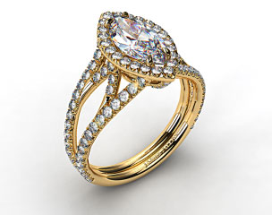 18K Yellow Gold Split Shank Engagement Ring with Diamond Halo and Sculpted Design
