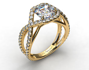 18K Yellow Gold Engagment Ring with Braided Pave Overlay