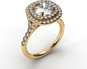 18K Yellow Gold Diamond Split Shank Double Halo Pave Engagement Ring