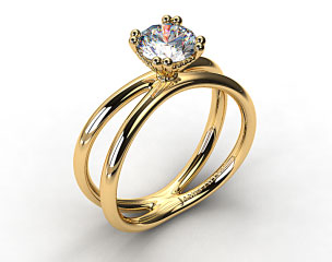 18K Yellow Gold Criss Cross Diamond Solitaire