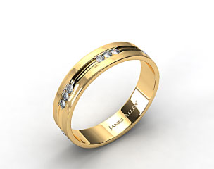 14k Yellow Gold 6mm Etched Channel Set Diamond Wedding Ring