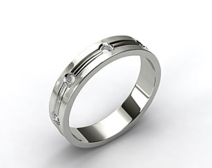 14k White Gold 6mm Etched Bezel Set Diamond Wedding Ring