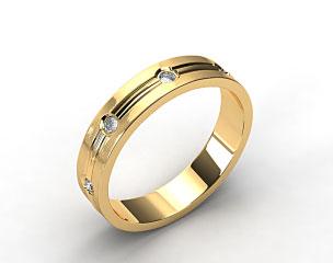 18K Yellow Gold 6mm Etched Bezel Set Diamond Wedding Ring