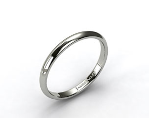 14k White Gold 3mm Slightly Domed Comfort Fit Wedding Ring