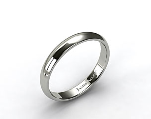 18k White Gold 4mm Slightly Domed Comfort Fit Wedding Ring