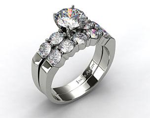 Platinum Common Prong Four Round Diamond Engagement Ring & 0.90ct Five Stone Diamond Wedding Ring