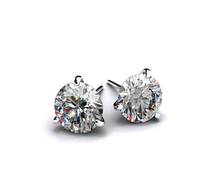 Pair of Ladies 18k White Gold 3/4ctw Three Prong Martini Round Brilliant Diamond Earrings