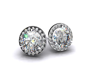 18k White Gold 3/4ctw Round Brilliant Diamond Pave Frame Earrings