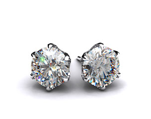 Pair of Ladies 1.00ctw 18k White Gold Round Brilliant  6 Prong Scalloped Basket Earrings