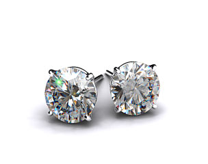 Pair of Classic 3/4ctw Ladies 18k White Gold Four Prong Round Brilliant Diamond Earrings
