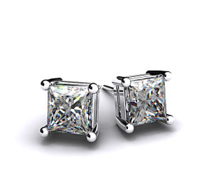Pair of Ladies 18k White Gold 1/2ctw Classic 4 Prong Asscher Cut Diamond Earrings