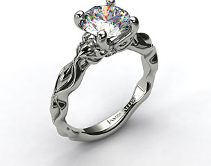 14K White Gold Diamond Accented Sculpted Designer Engagement Ring