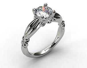 18k White Gold Pinched Bombay Engagement Ring