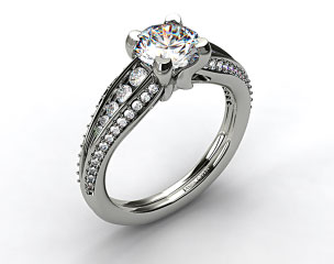 18k White Gold Half Moon Split Shank Engagement Ring