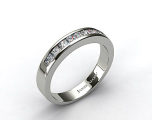 Platinum 0.50ct Princess Shaped Channel Set Diamond Wedding Ring