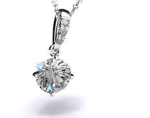 18k White Gold 0.50ct F-G, VS Pave Bail Diamond Pendant