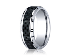 Cobaltchrome 8mm Comfort-Fit Carbon Fiber Inlay Design Ring 11546CO