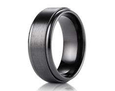 Black Titanium 9mm Comfort-Fit Satin-Finished Stair-Step Edge Design Ring 11569BT