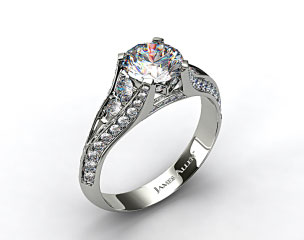 18K White Gold 0.50ctw Pave Set Diamond Engagement Ring
