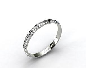 18k White Gold  Knife Edge Pave Diamond Eternity Wedding Band