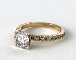 14k Yellow Gold 0.32ct French Cut Pave Diamond Engagement Ring