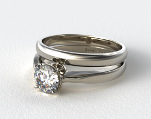 18k White Gold 2.2mm Wire Basket Solitaire Ring & Made to Match 2.5mm Half Round Wedding Ring