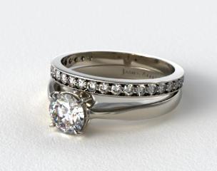 Platinum 2.2mm Wire Basket Solitaire Ring & 0.17ct Pave Set Diamond Wedding Ring